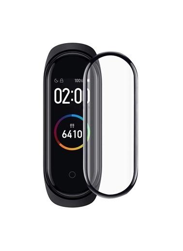 Microsonic Xiaomi Mi Band 6 Tam Kaplayan Temperli Cam Full Ekran Koruyucu Siyah Siyah
